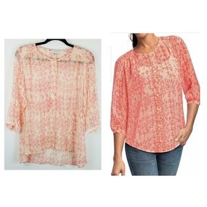 CABI Silk 756 Emerson Sheer Blouse S 3/4 Sleeve